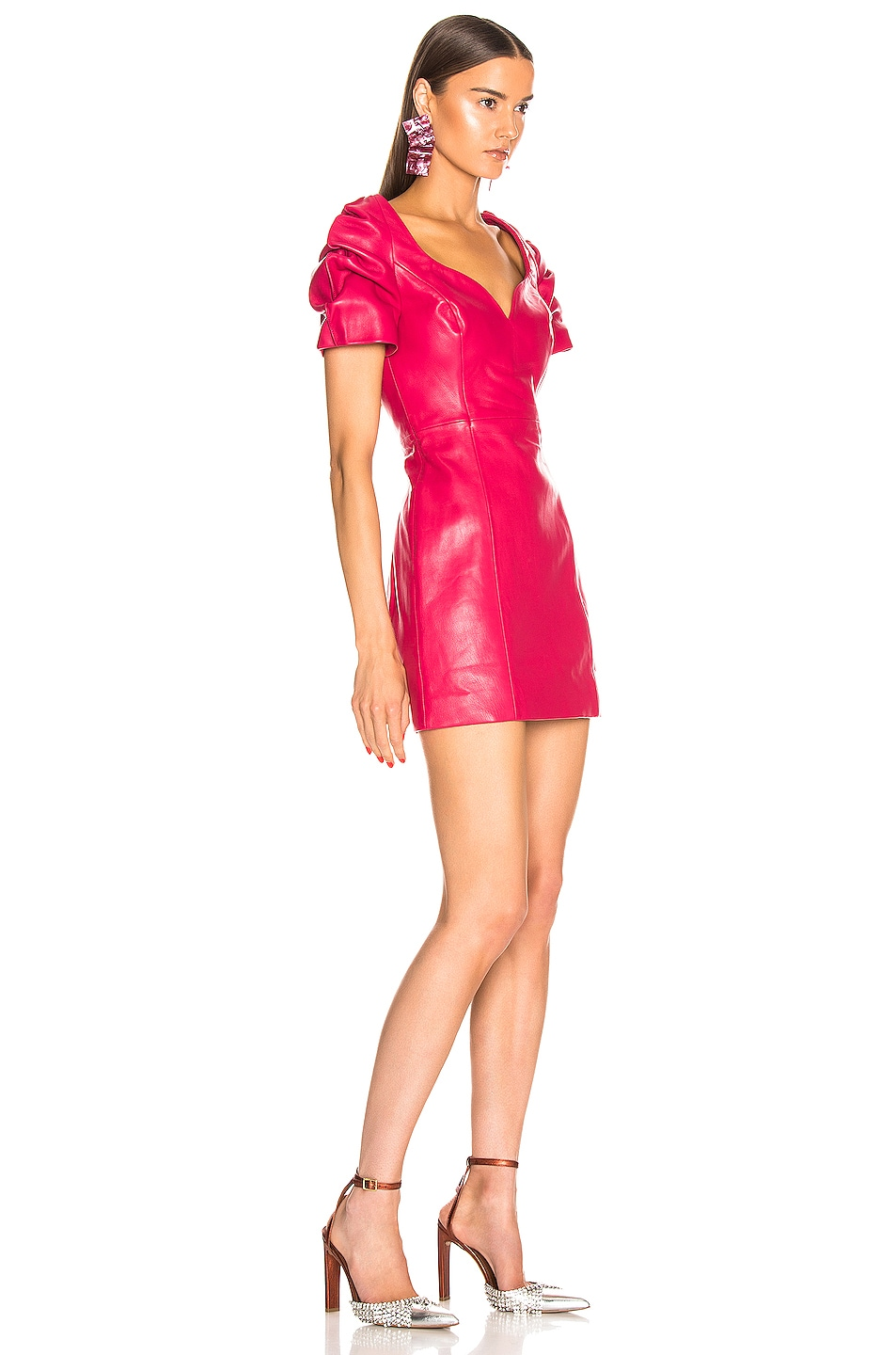 Image 2 of AREA Leather Balloon Dress in Ruby