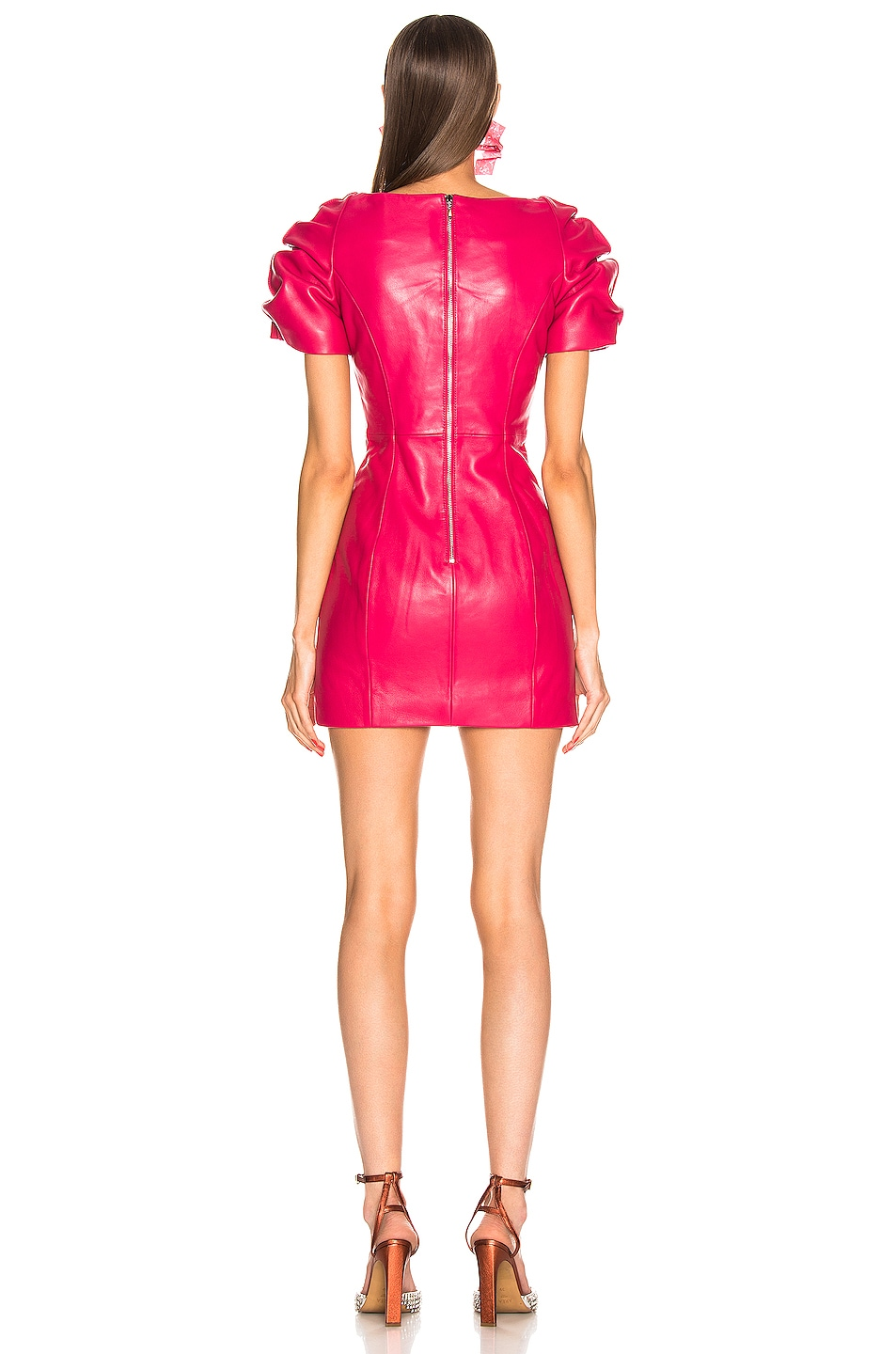 Image 3 of AREA Leather Balloon Dress in Ruby