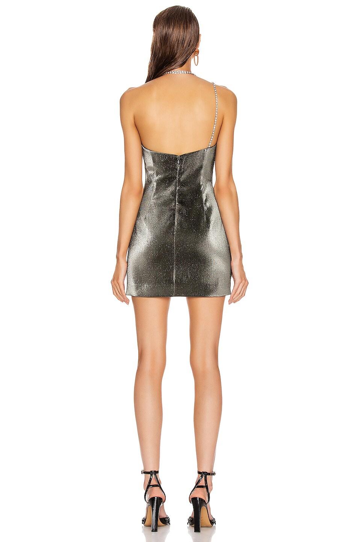 Image 3 of AREA Crystal Choker Strap Mini Dress in Graphite