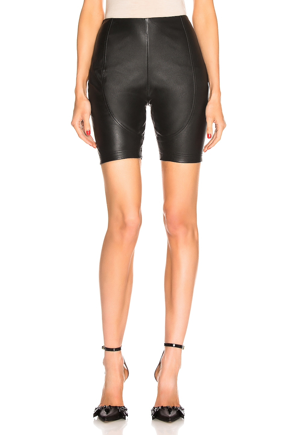 Image 1 of AREA Leather Bike Short in Black