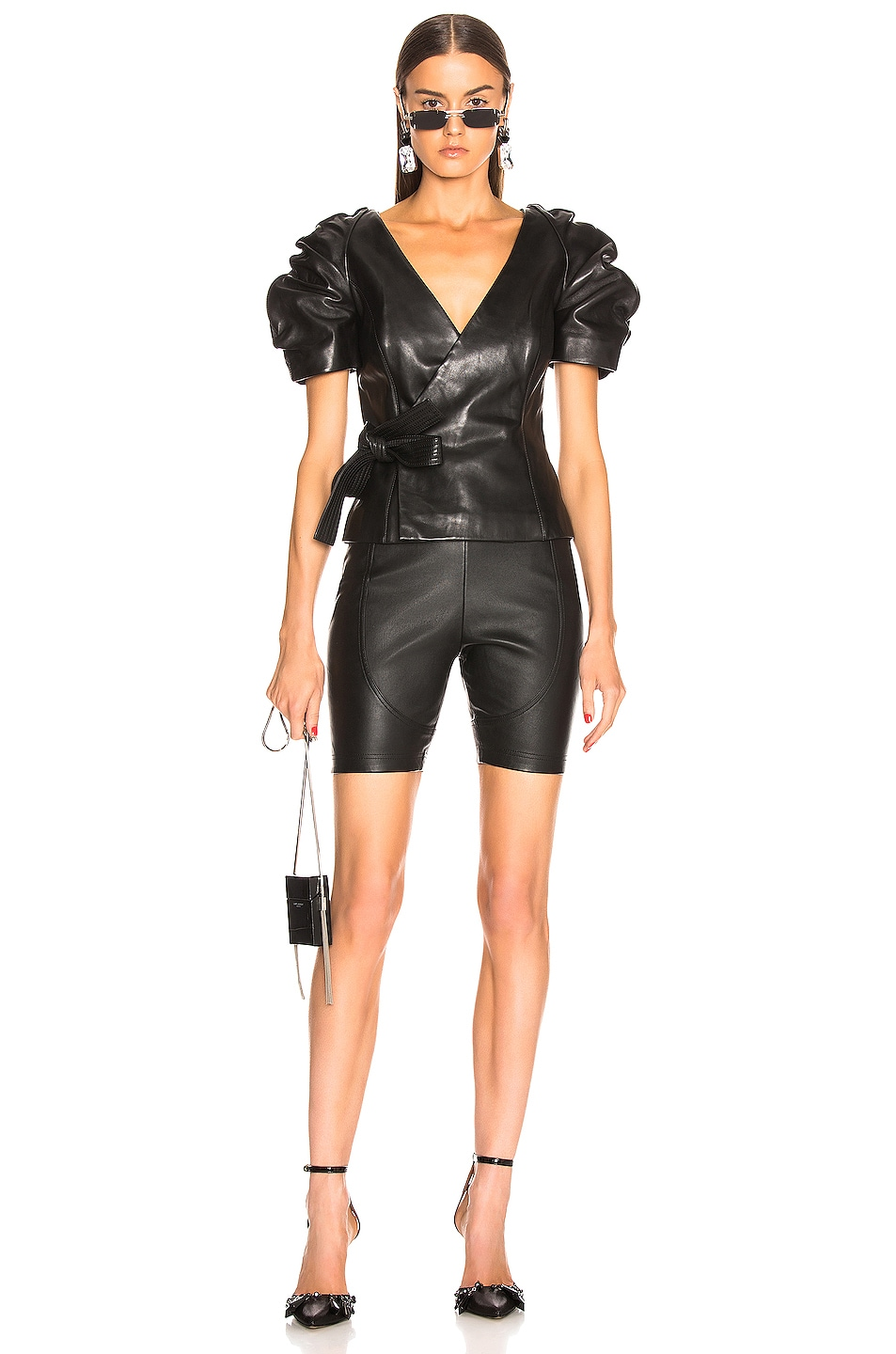 Image 4 of AREA Leather Bike Short in Black