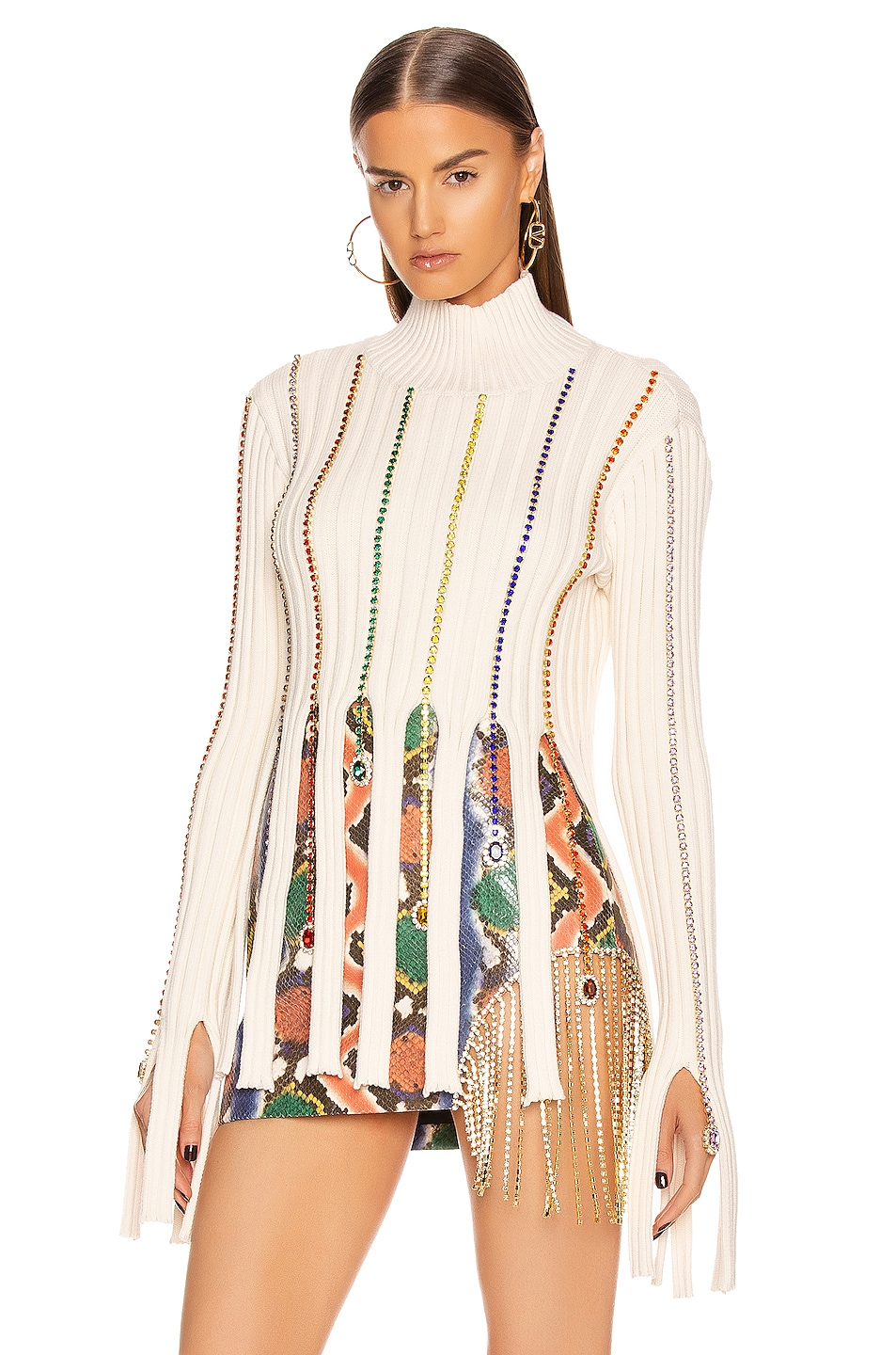 Image 1 of AREA Embroidered Crystal Crop Sweater in Ivory & Rainbow