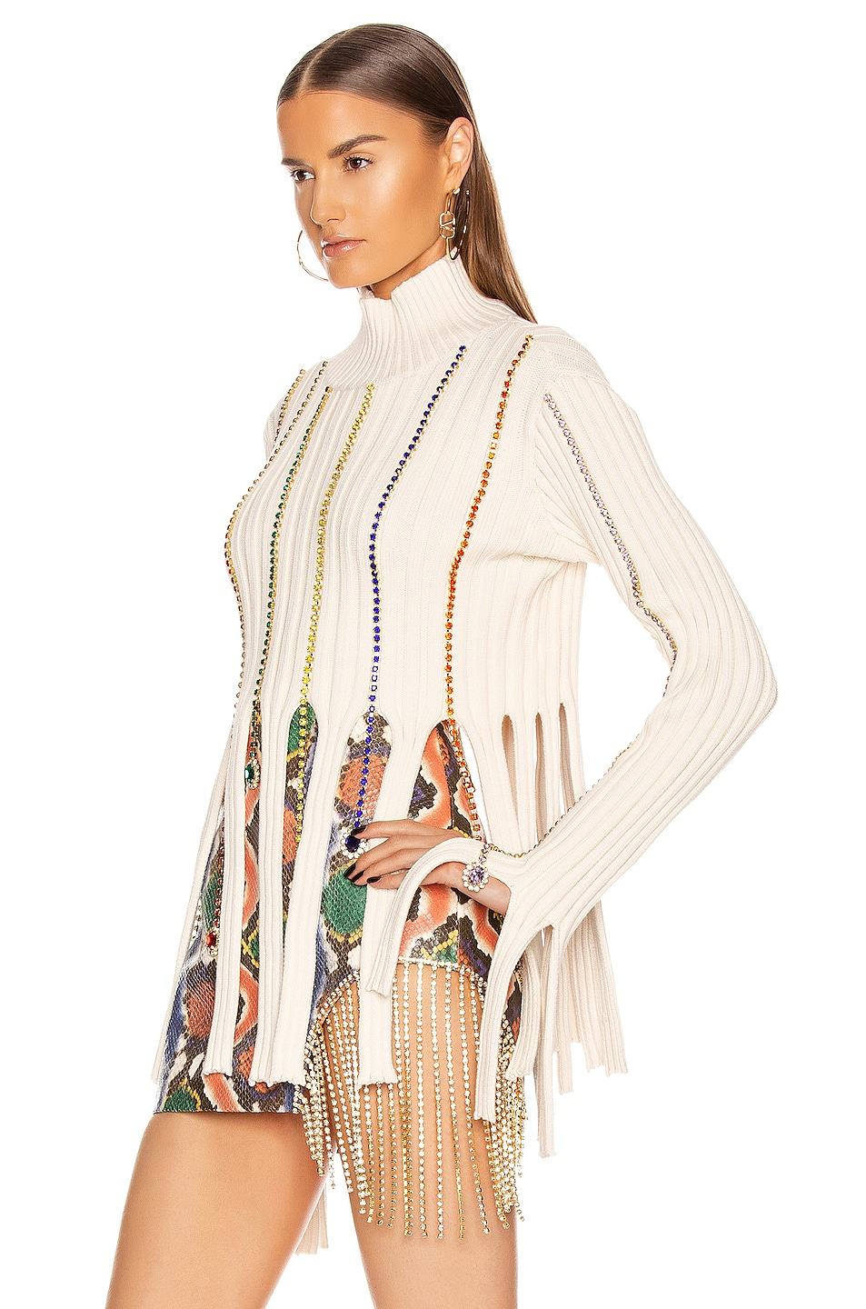 Image 3 of AREA Embroidered Crystal Crop Sweater in Ivory & Rainbow