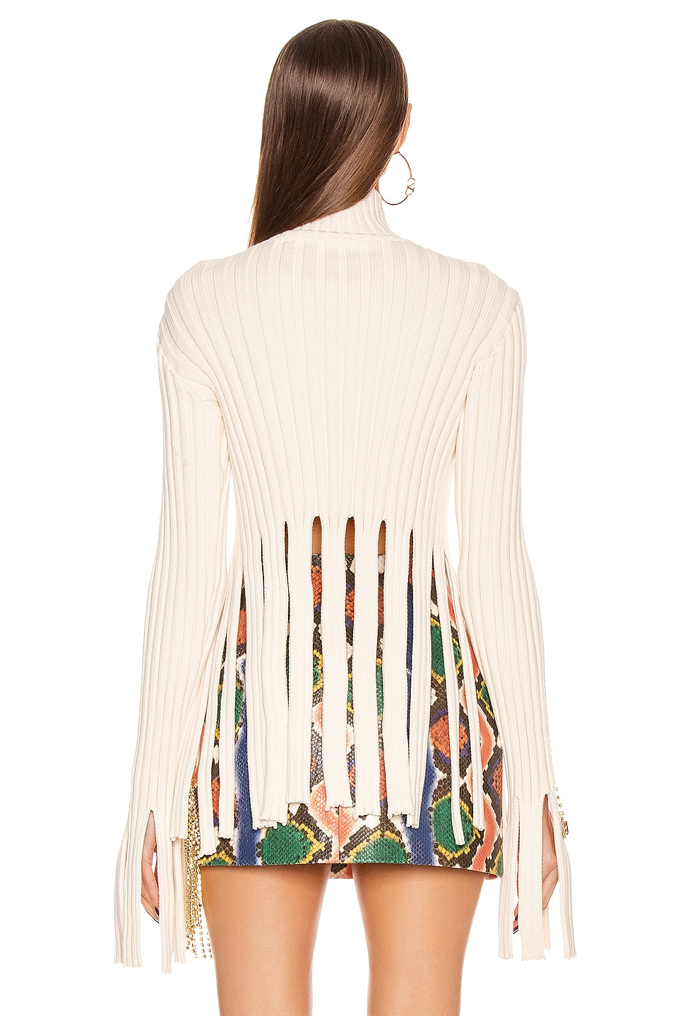 Image 4 of AREA Embroidered Crystal Crop Sweater in Ivory & Rainbow