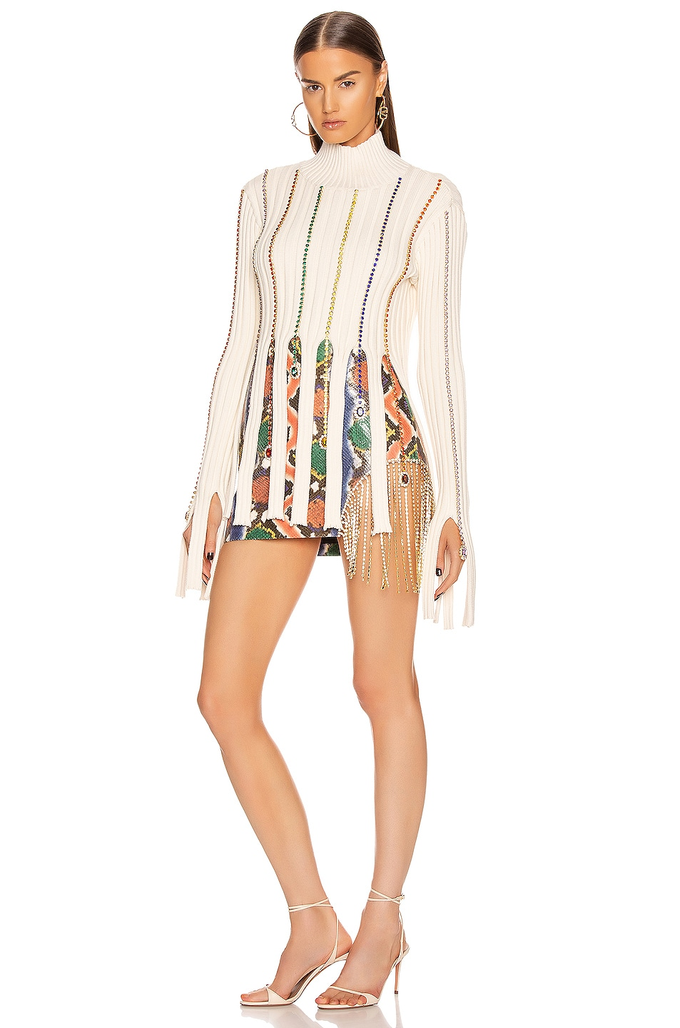 Image 5 of AREA Embroidered Crystal Crop Sweater in Ivory & Rainbow