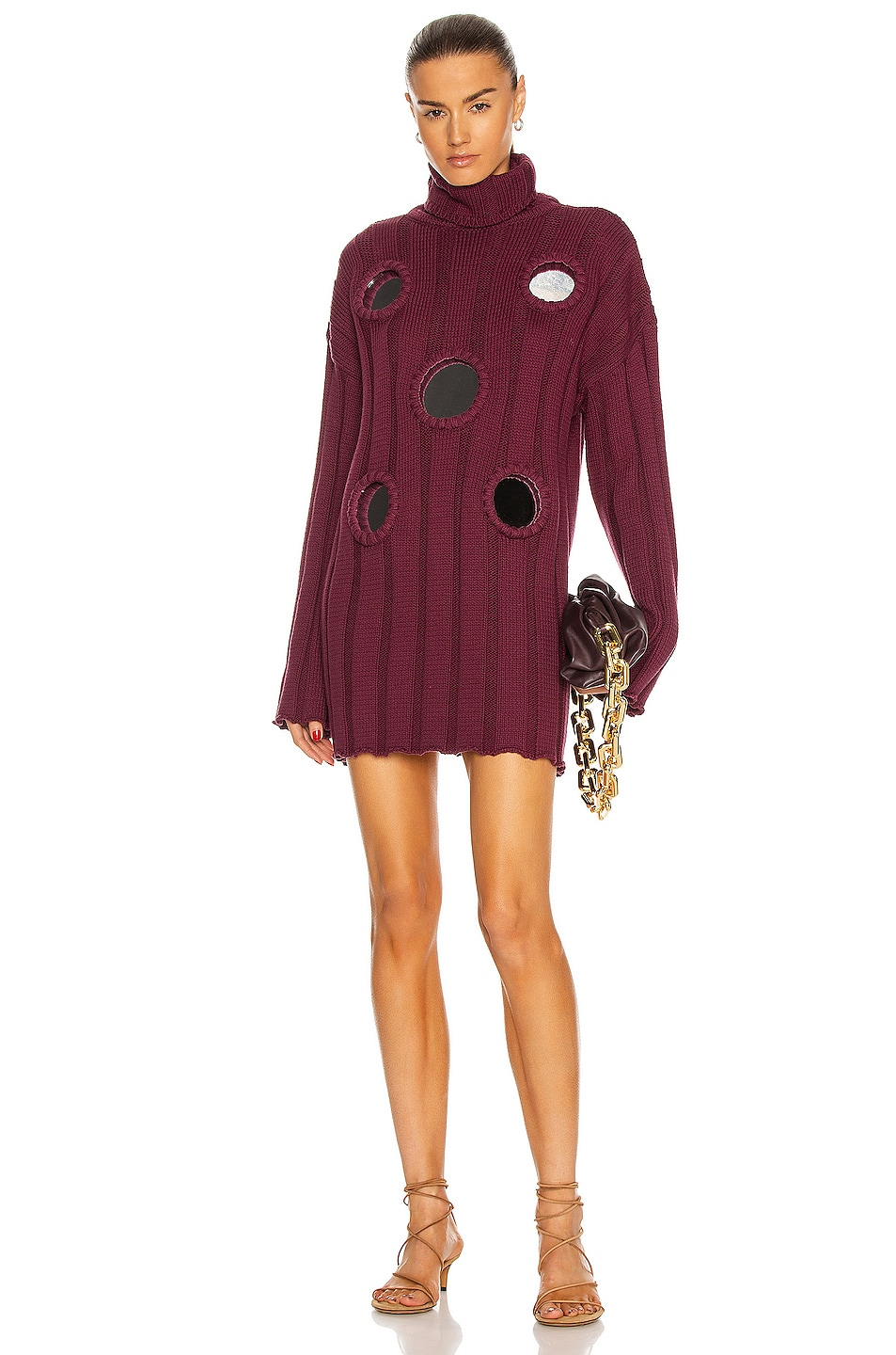 Image 1 of AREA Mirror Inset Oversized Tunic Sweater in Bordeaux