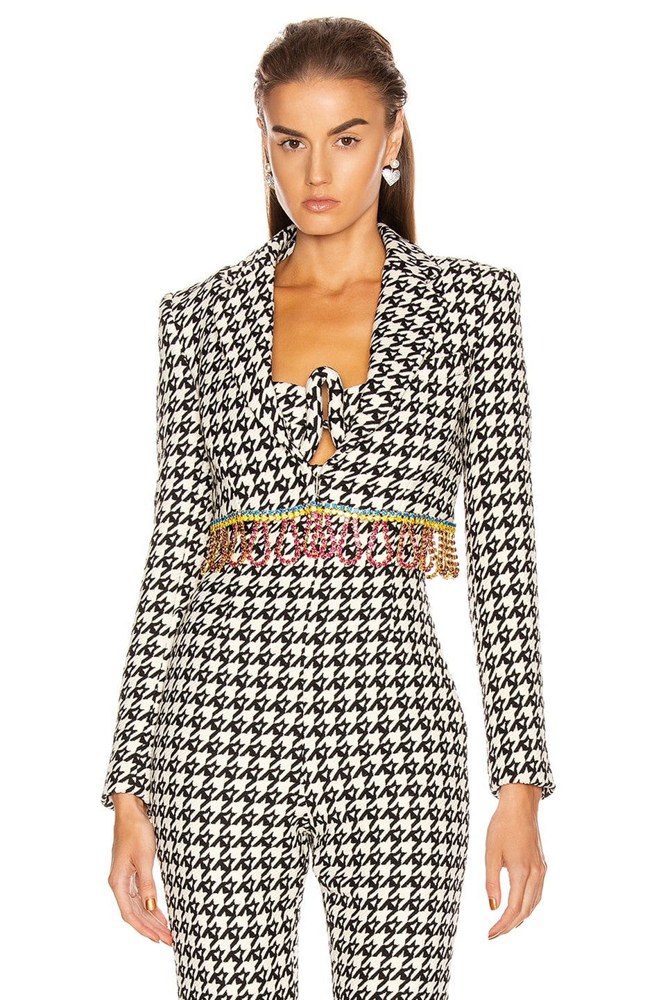 Image 1 of AREA Houndstooth Cropped Bolero Jacket in Black & Multi Crystal