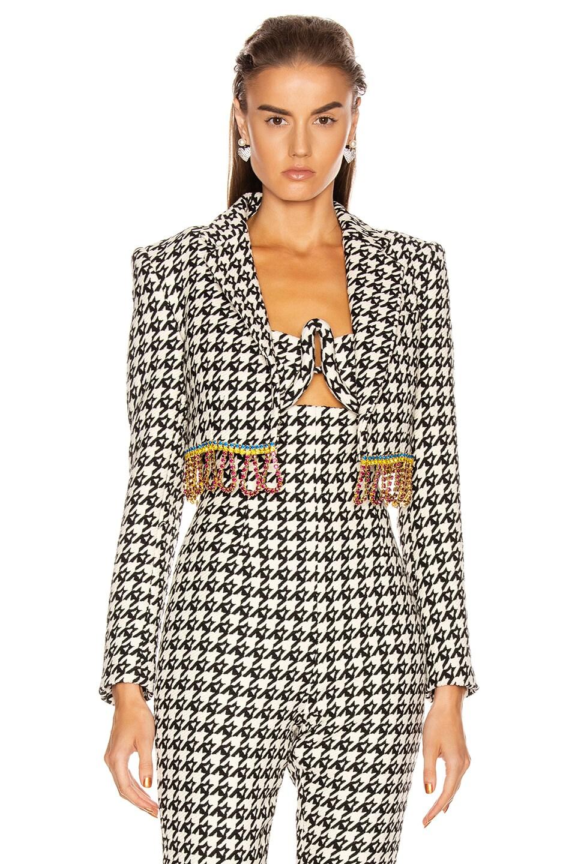Image 2 of AREA Houndstooth Cropped Bolero Jacket in Black & Multi Crystal