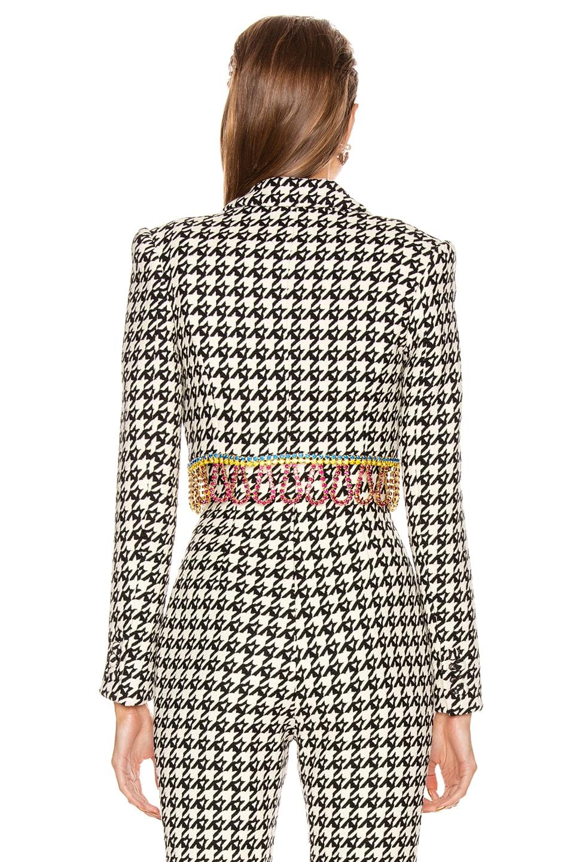Image 4 of AREA Houndstooth Cropped Bolero Jacket in Black & Multi Crystal