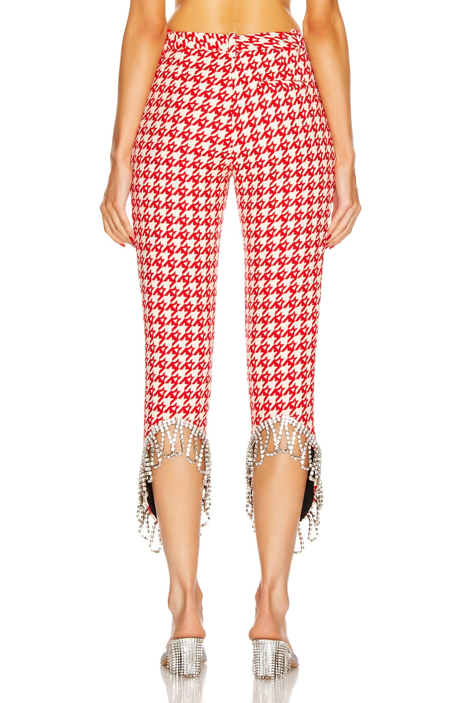 Image 3 of AREA Crystal Trim Trouser in Red & Ecru
