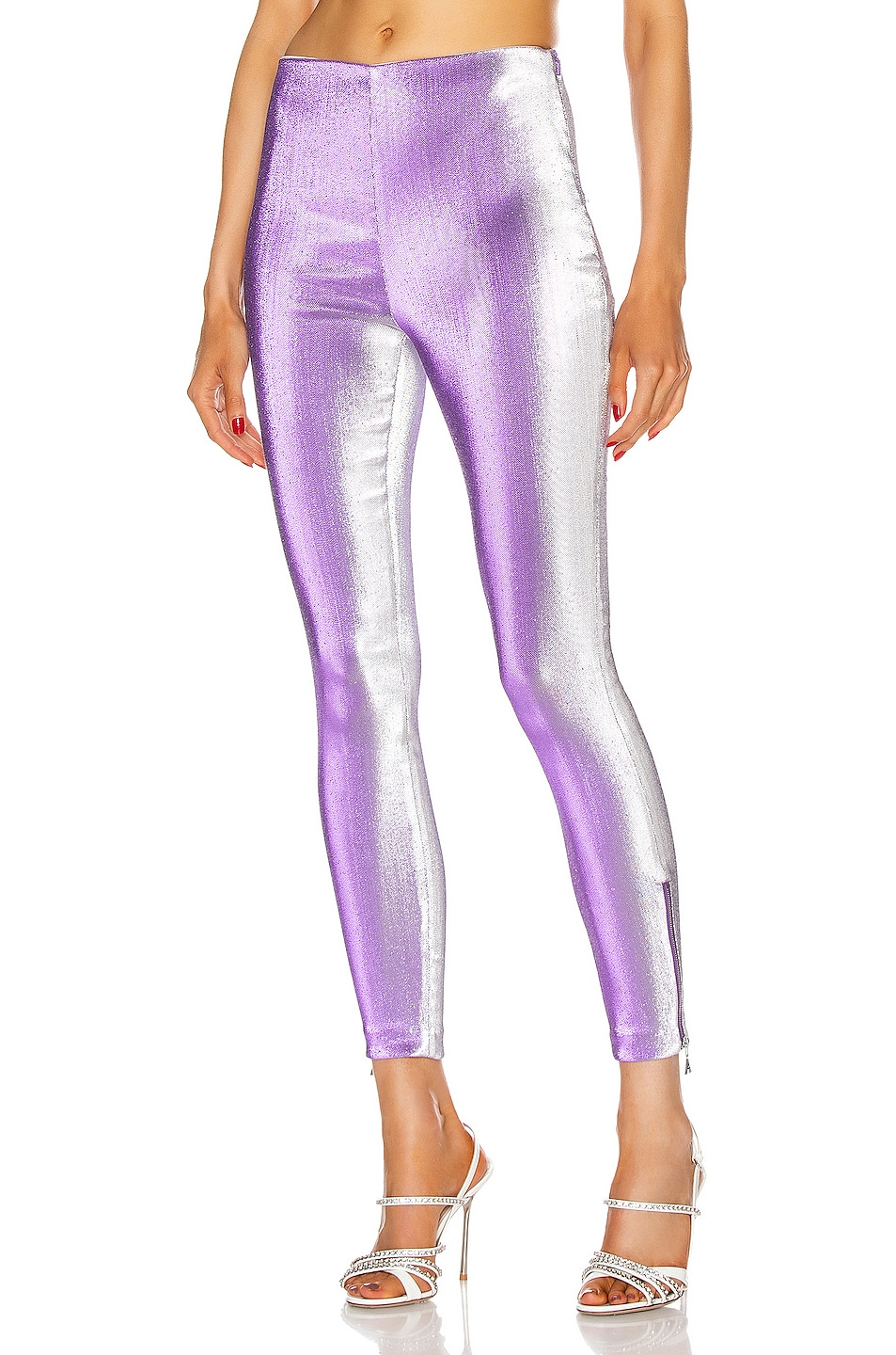 Image 1 of AREA Ankle Zip Legging in Silver Violet