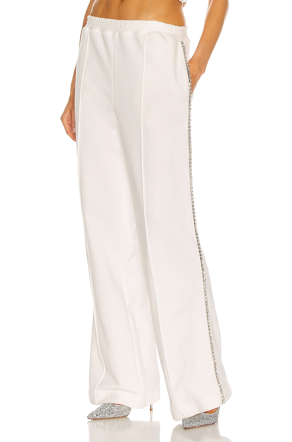 Image 1 of AREA Crystal Stitched Track Pant in White