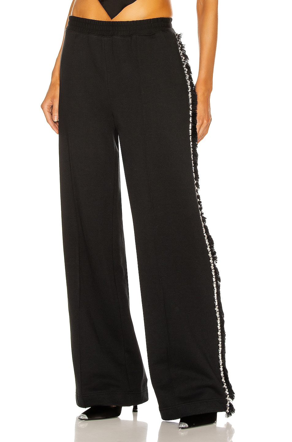 Image 1 of AREA Wide Leg Crystal Trackpant in Black
