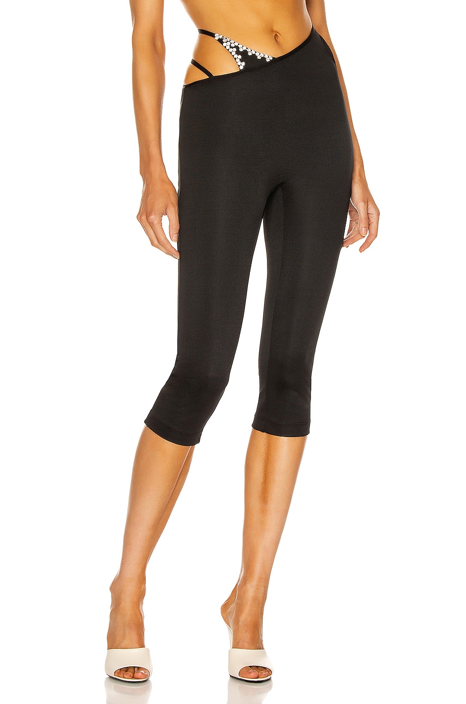 Image 1 of AREA Asymmetric Strap Cropped Legging in Black