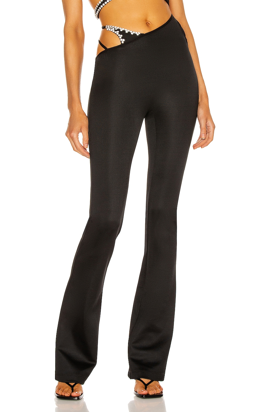 Image 1 of AREA Asymmetric Strap Flare Pant in Black
