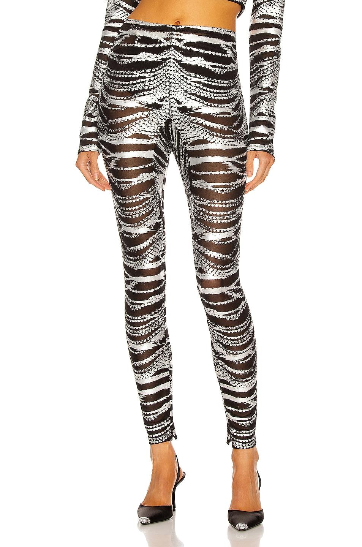 Image 1 of AREA Crystal Print Mesh Legging in Black & Silver