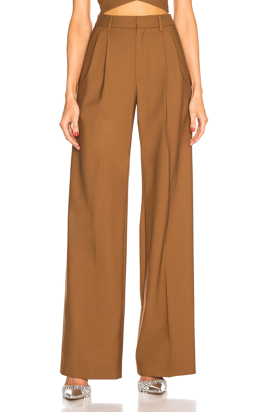 Image 1 of AREA Pleated Trouser in Caramel
