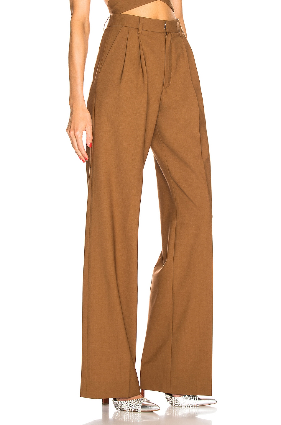 Image 2 of AREA Pleated Trouser in Caramel