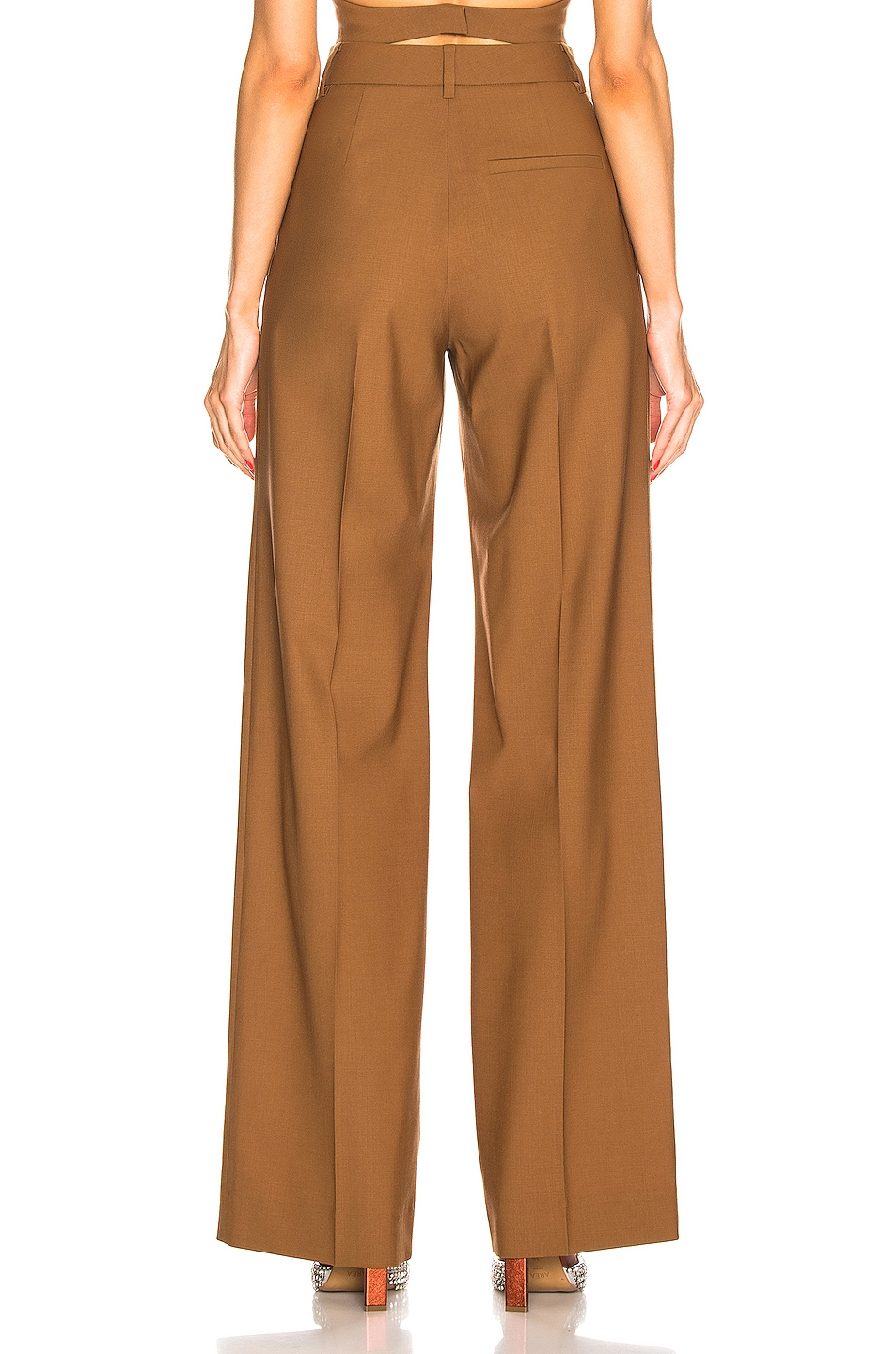 Image 3 of AREA Pleated Trouser in Caramel