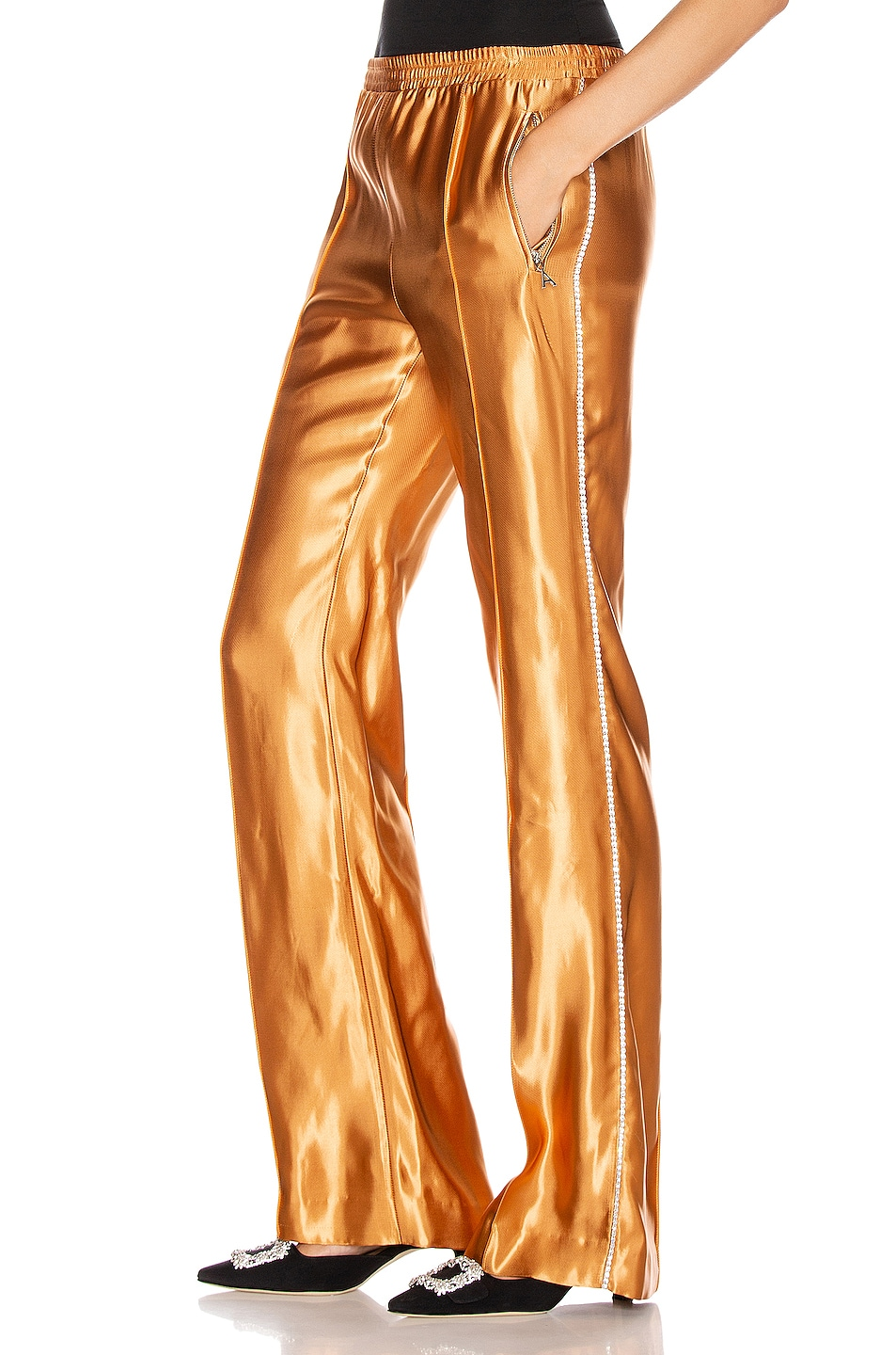 Image 1 of AREA Liquid Satin Crystal Stripe Track Pant in Toffee