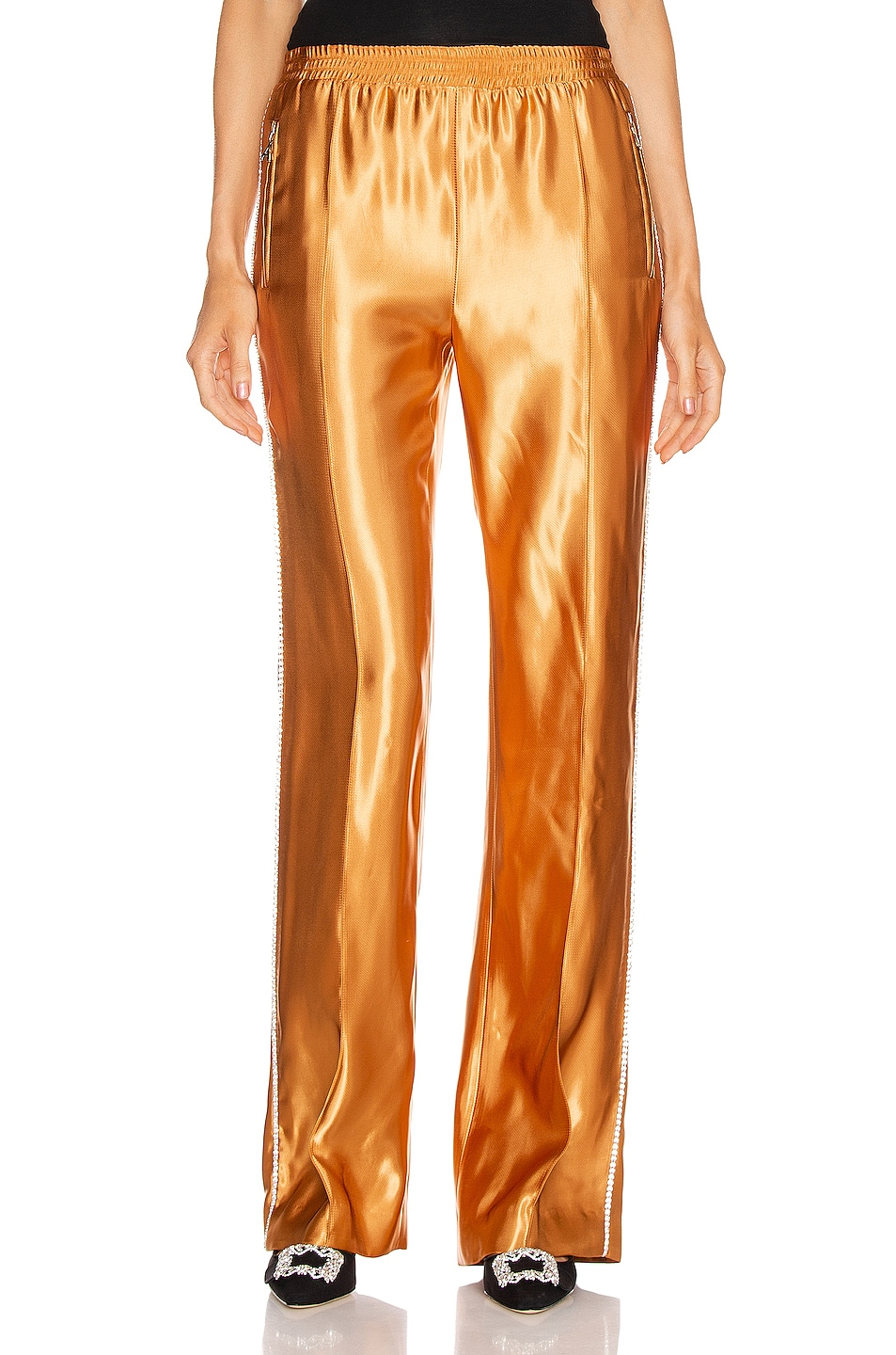 Image 2 of AREA Liquid Satin Crystal Stripe Track Pant in Toffee