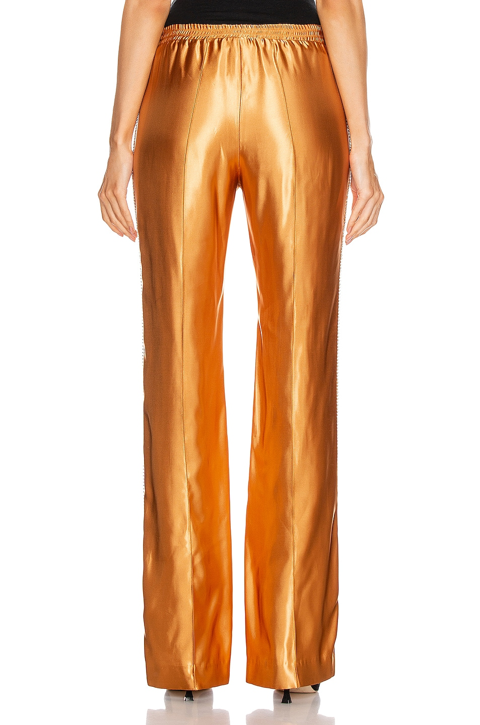 Image 4 of AREA Liquid Satin Crystal Stripe Track Pant in Toffee