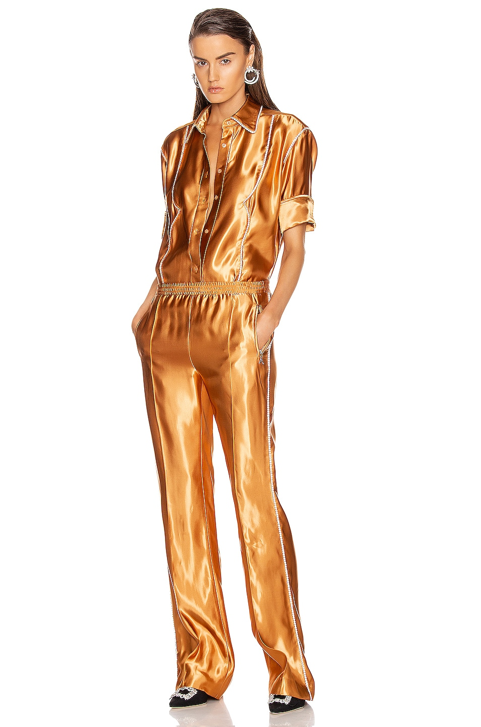 Image 5 of AREA Liquid Satin Crystal Stripe Track Pant in Toffee