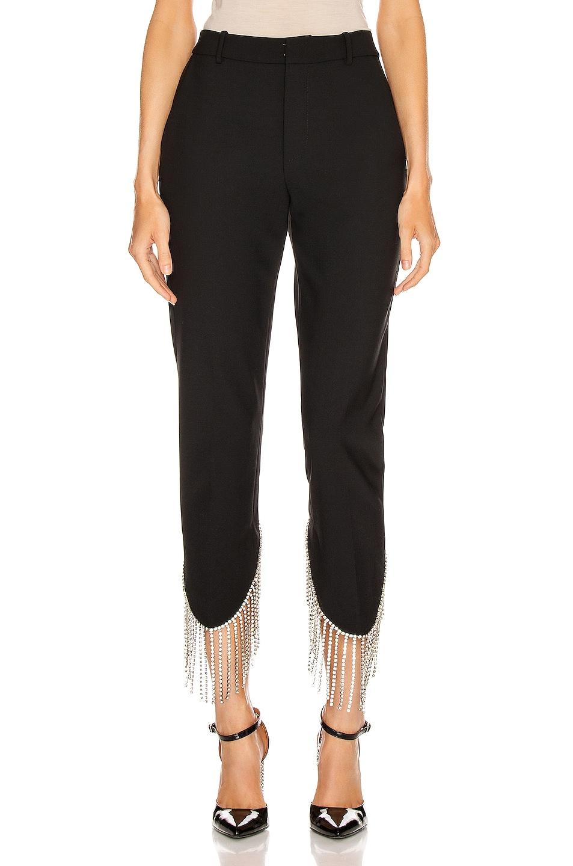 Image 1 of AREA Crystal Fringe Trouser in Black