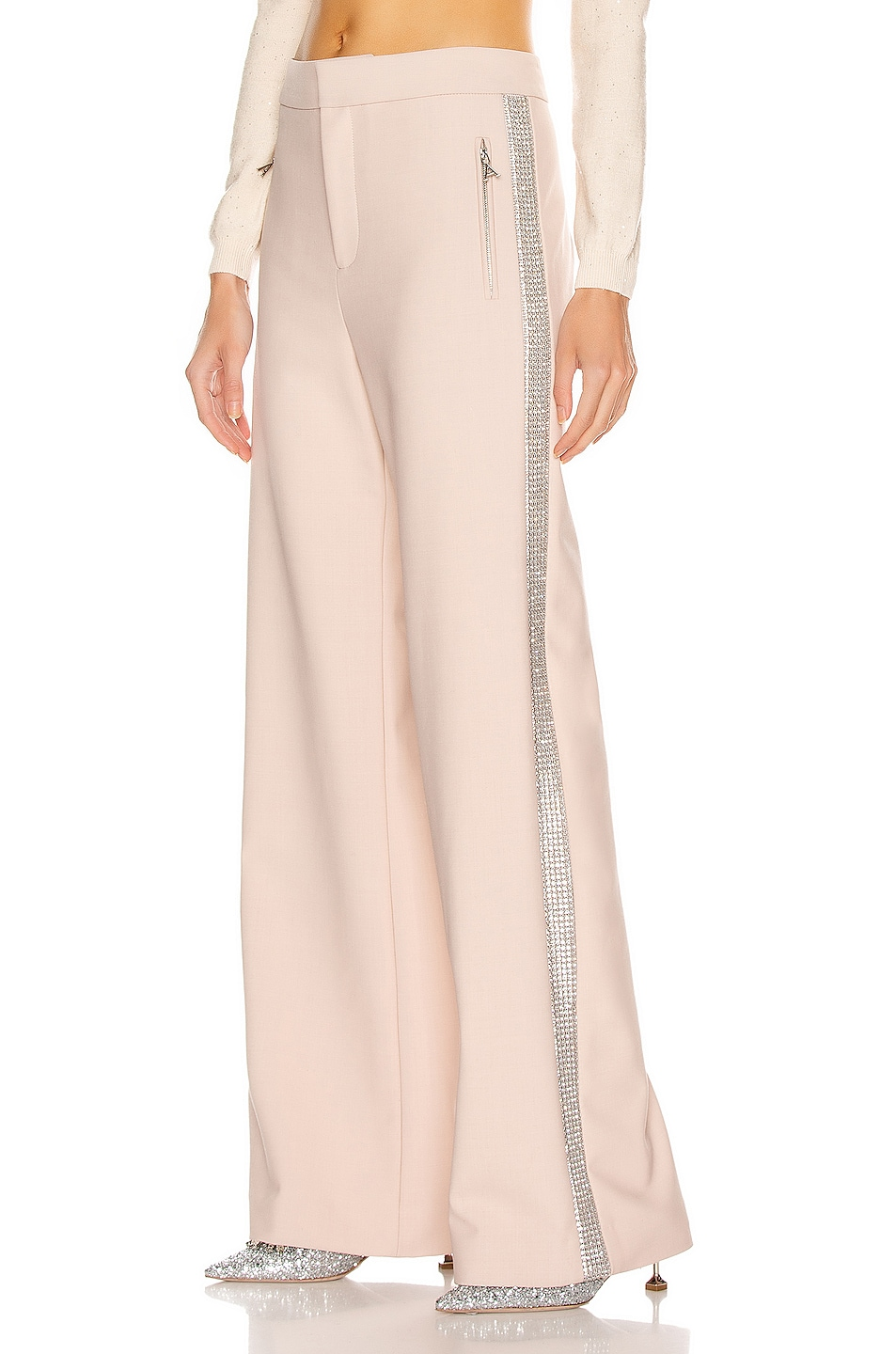 Image 1 of AREA Crystal Stripe Wide Leg Trouser Pant in Nude