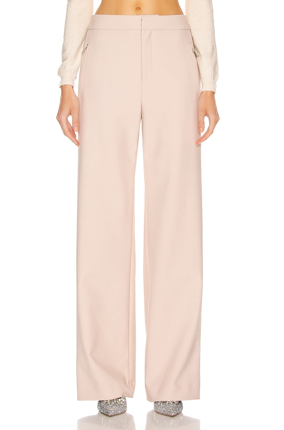 Image 2 of AREA Crystal Stripe Wide Leg Trouser Pant in Nude