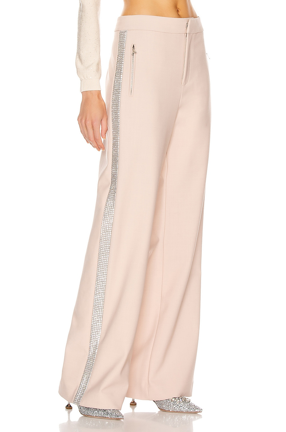 Image 3 of AREA Crystal Stripe Wide Leg Trouser Pant in Nude