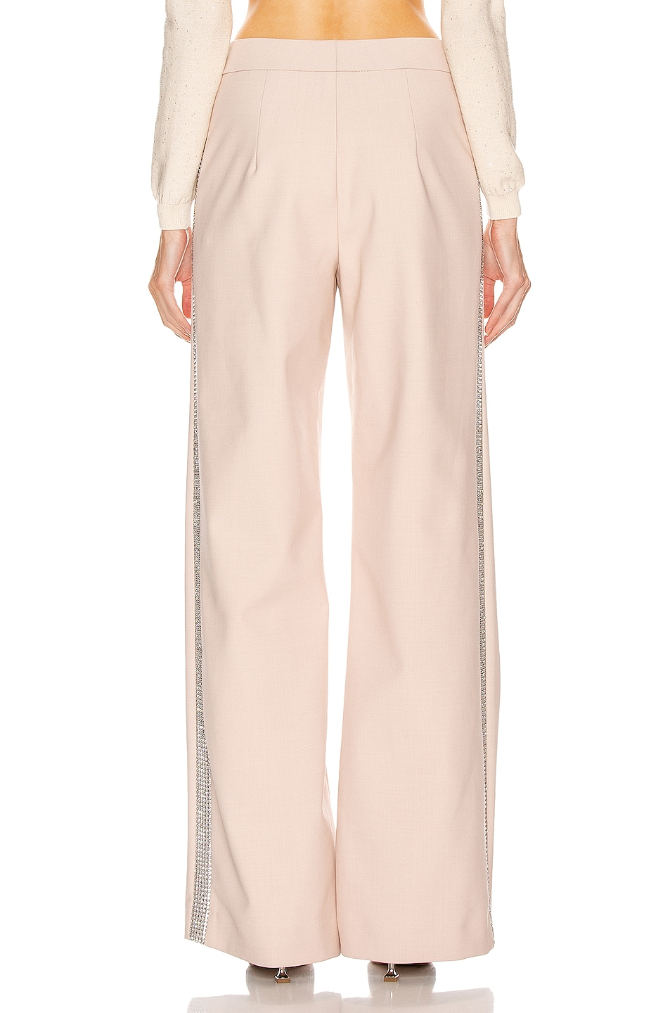 Image 4 of AREA Crystal Stripe Wide Leg Trouser Pant in Nude