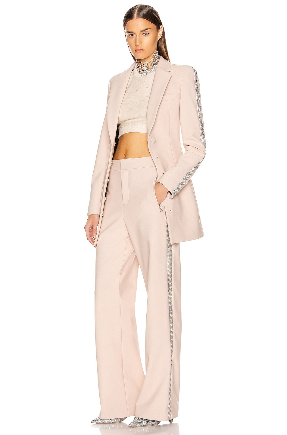 Image 5 of AREA Crystal Stripe Wide Leg Trouser Pant in Nude
