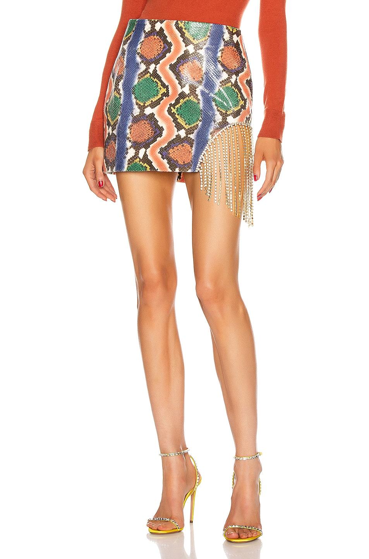 Image 1 of AREA Crystal Fringe Skirt in Rainbow