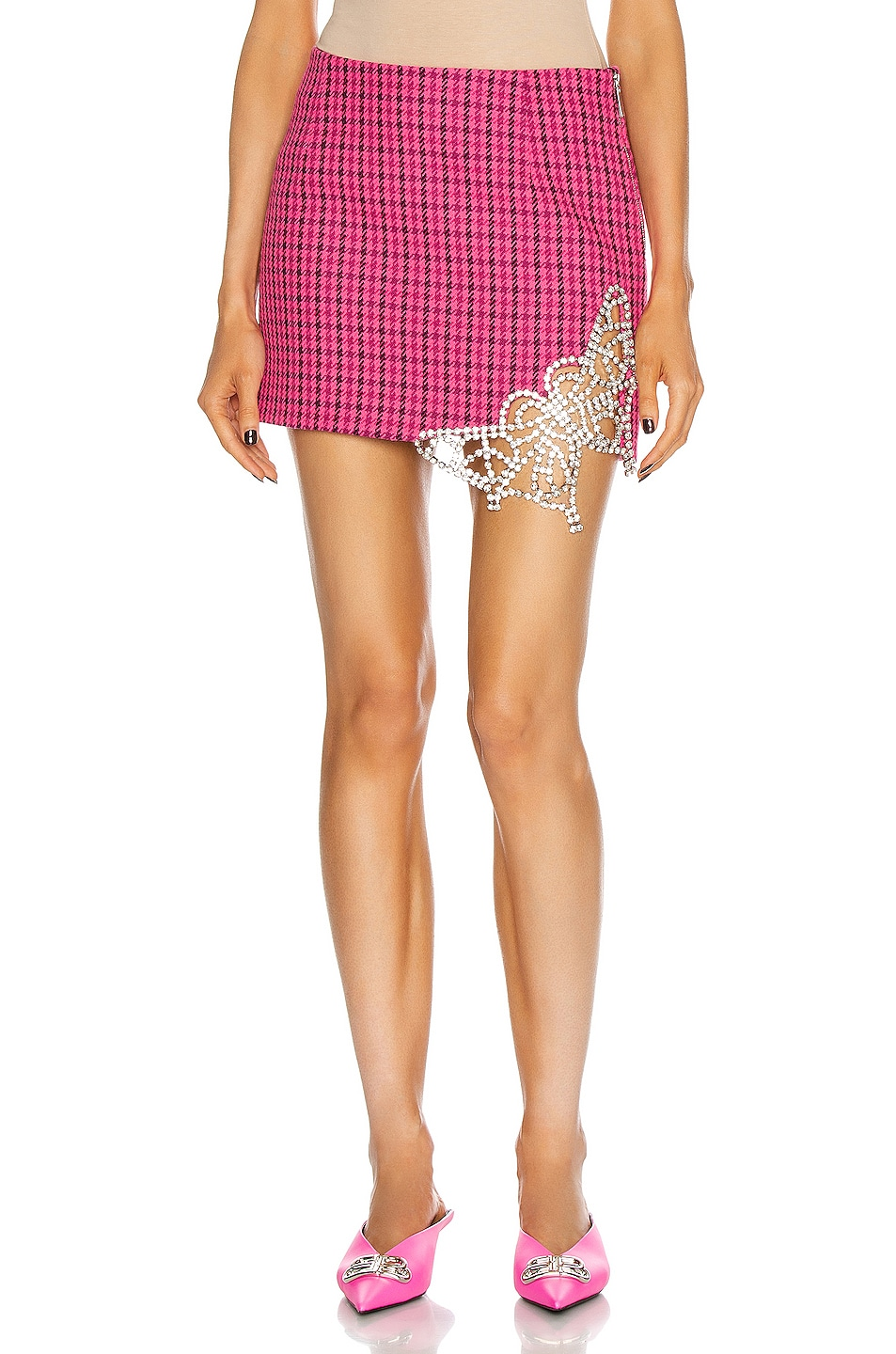 Image 1 of AREA Crystal Butterfly Cutout Mini Skirt in Pink & Clear