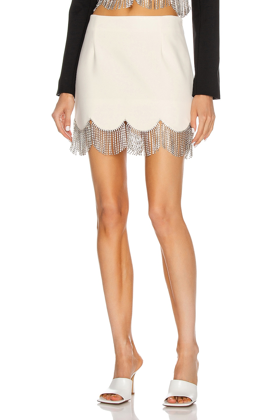 Image 1 of AREA Scalloped Crystal Hem Mini Skirt in Ivory & Clear