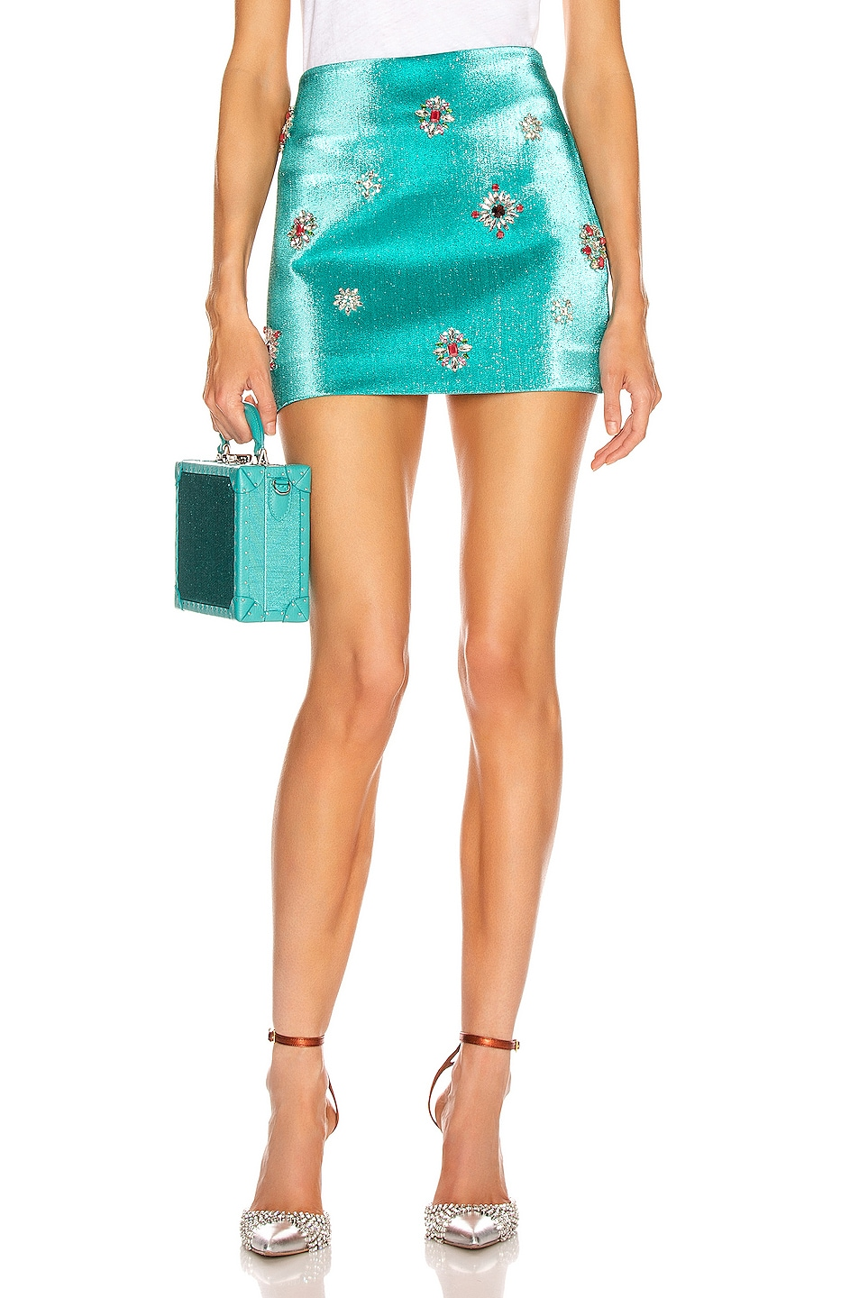 Image 1 of AREA Embroidered Scrunched Skirt in Aqua