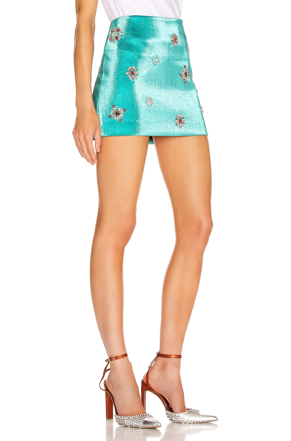 Image 2 of AREA Embroidered Scrunched Skirt in Aqua