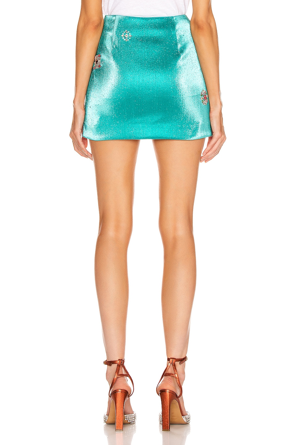 Image 3 of AREA Embroidered Scrunched Skirt in Aqua