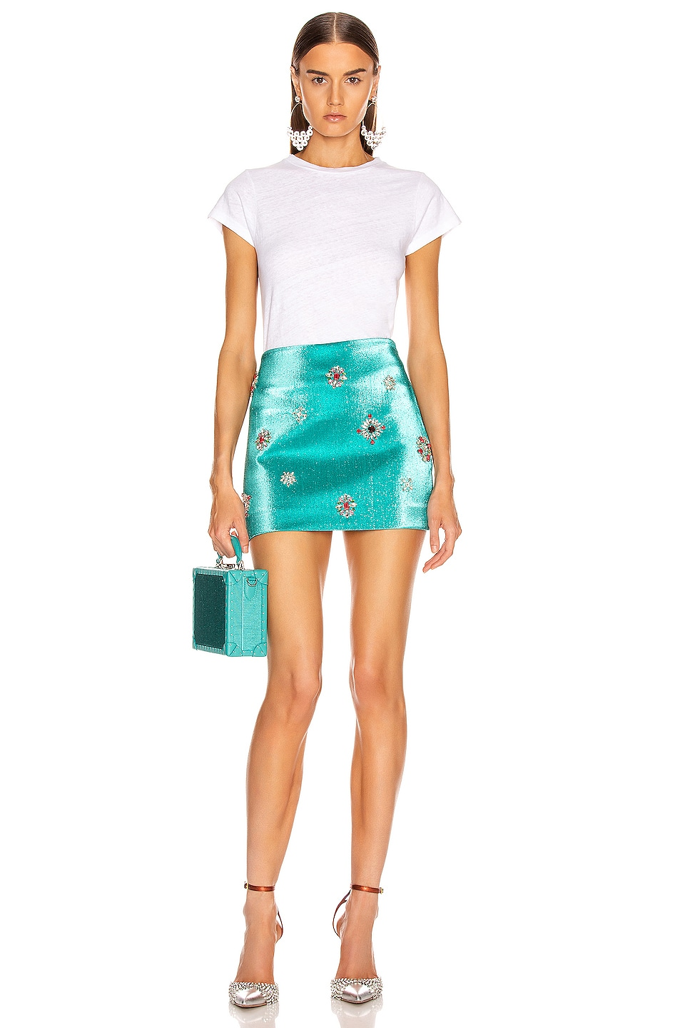 Image 4 of AREA Embroidered Scrunched Skirt in Aqua