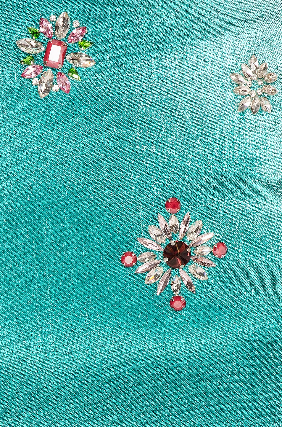 Image 5 of AREA Embroidered Scrunched Skirt in Aqua