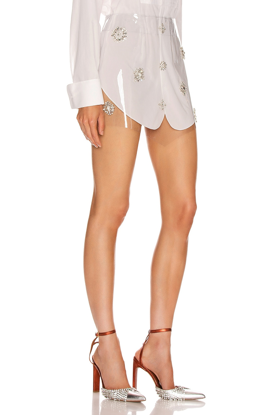 Image 2 of AREA Embroidered Skirt in White
