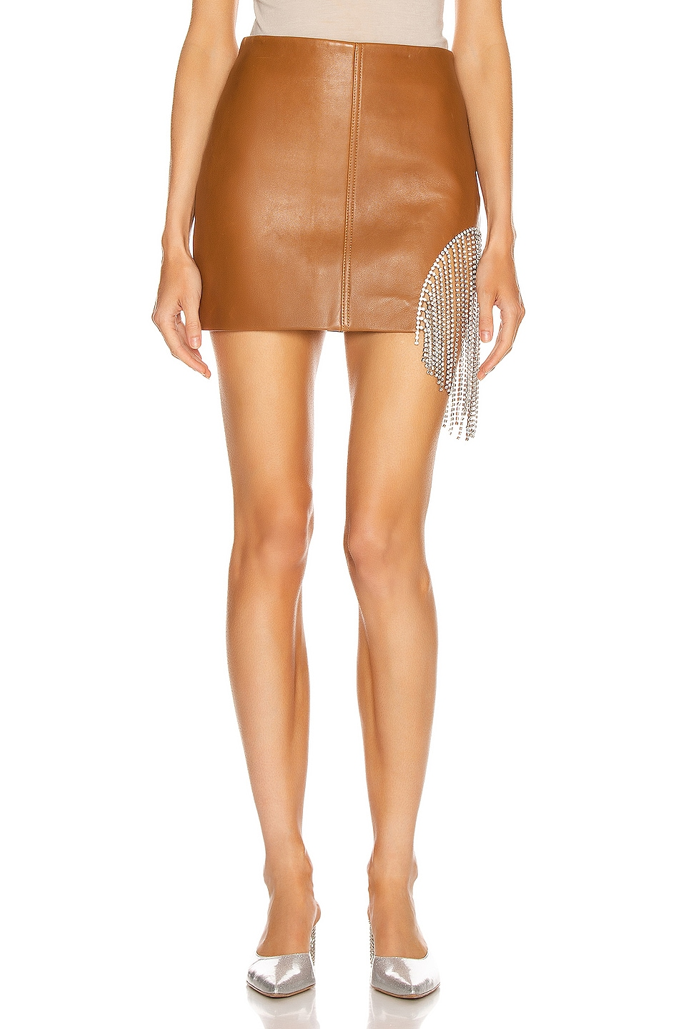 Image 2 of AREA Crystal Fringe Mini Skirt in Toffee