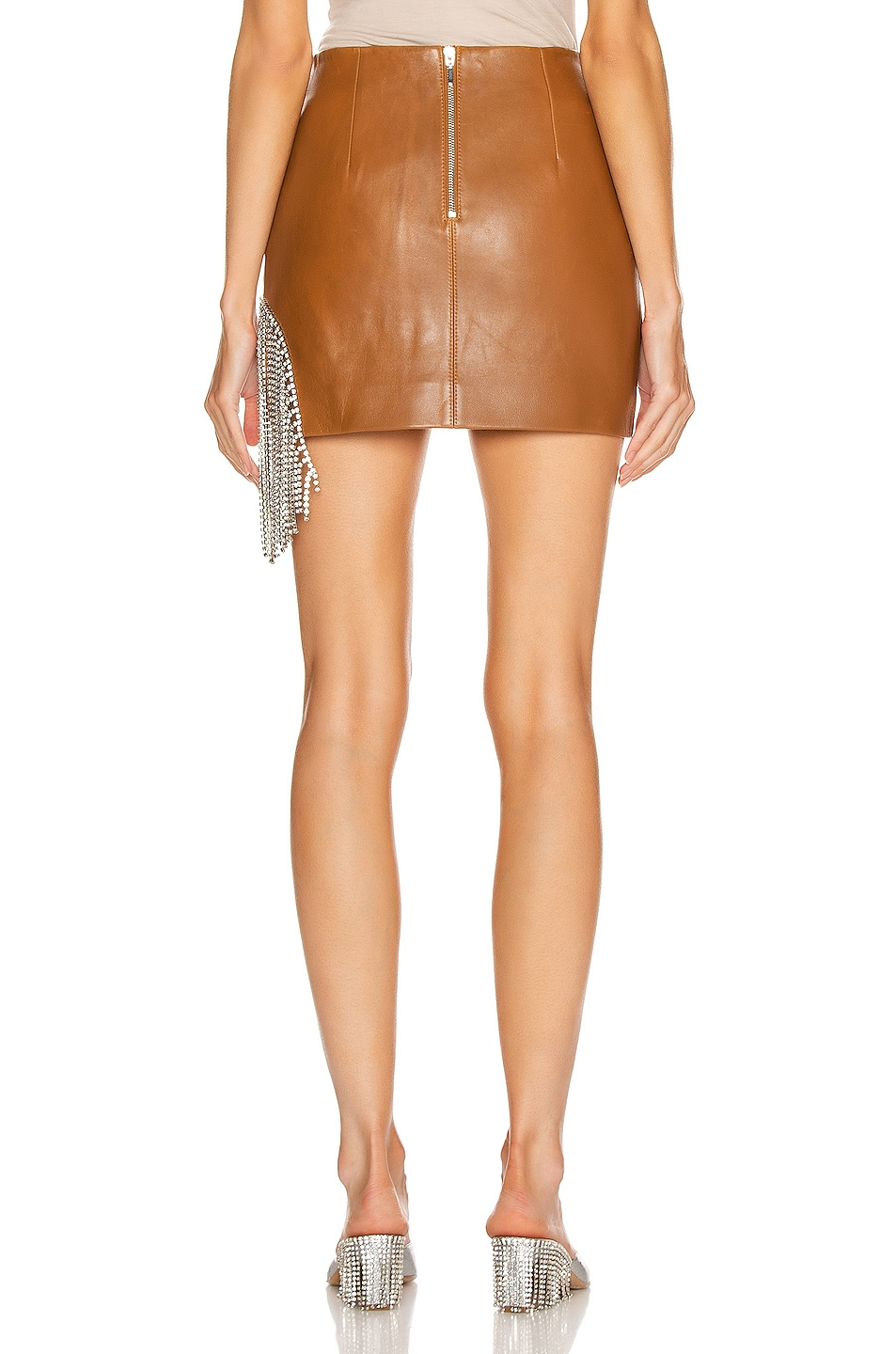 Image 4 of AREA Crystal Fringe Mini Skirt in Toffee