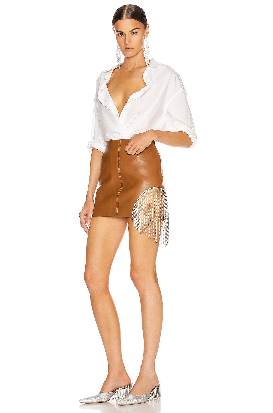 Image 5 of AREA Crystal Fringe Mini Skirt in Toffee