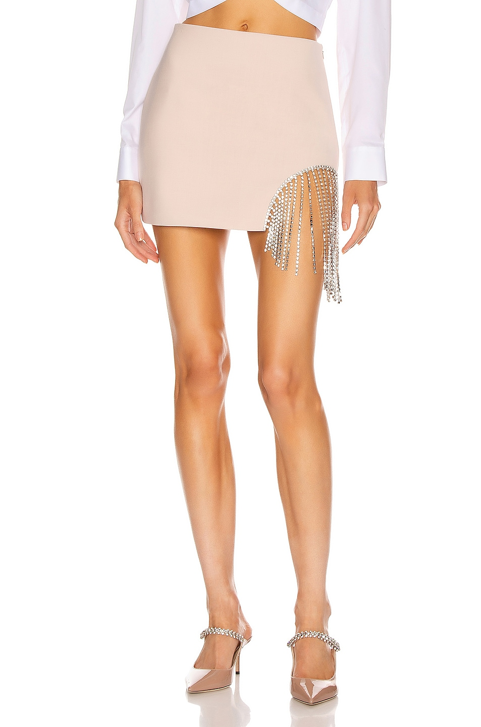 Image 1 of AREA Crystal Fringe Skirt in Nude