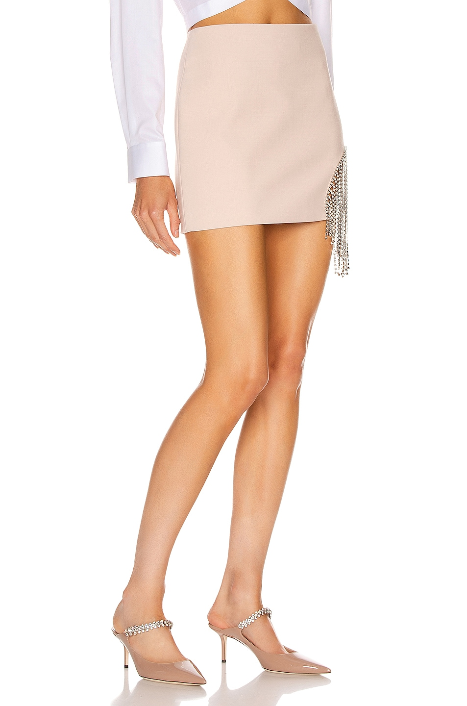 Image 2 of AREA Crystal Fringe Skirt in Nude