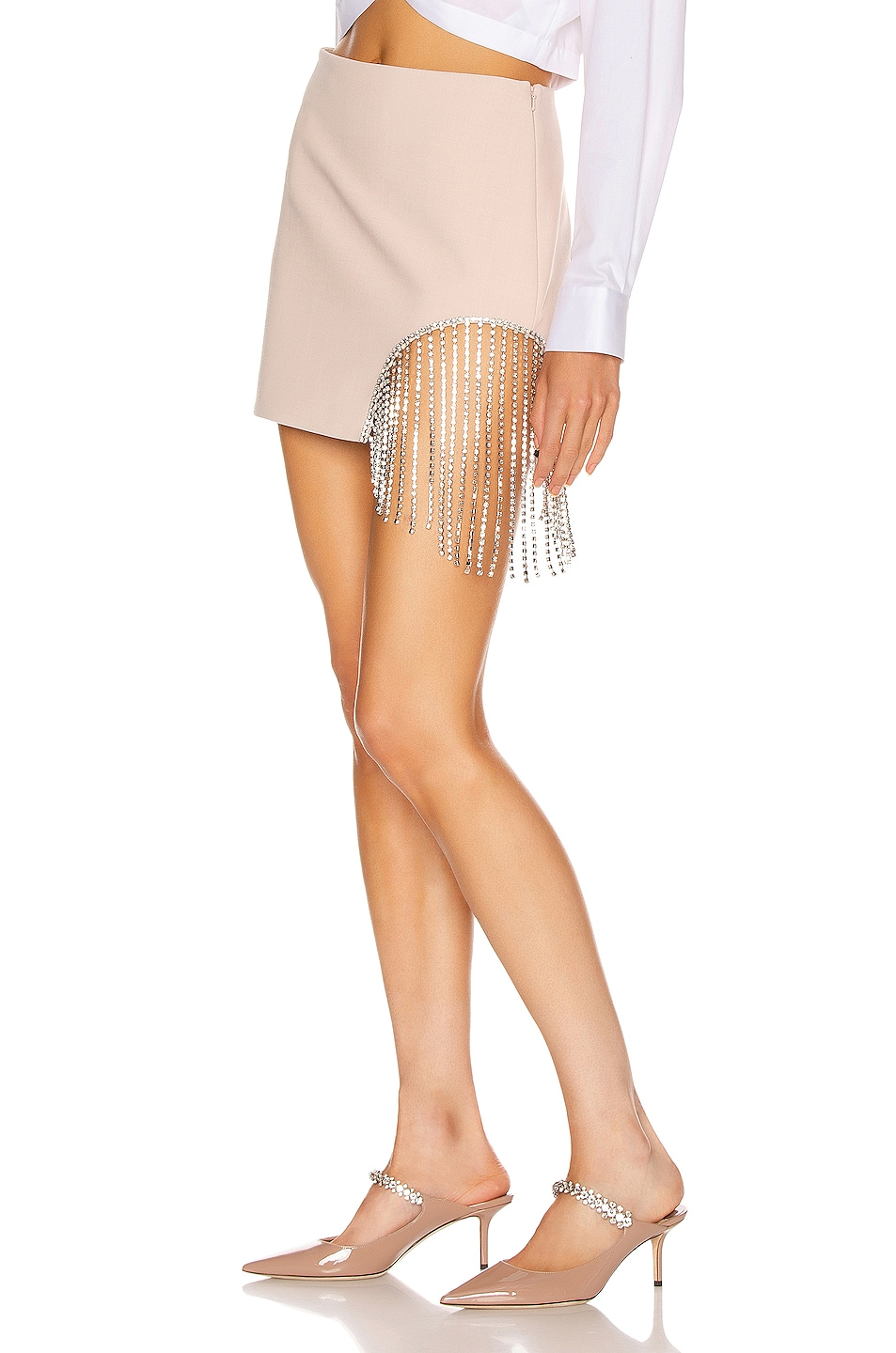 Image 3 of AREA Crystal Fringe Skirt in Nude