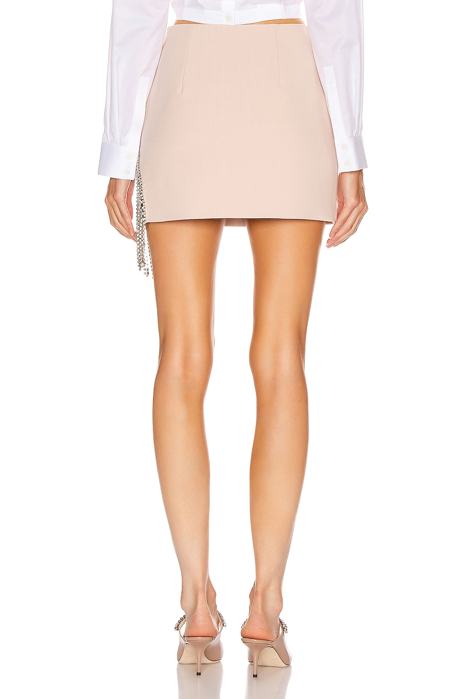 Image 4 of AREA Crystal Fringe Skirt in Nude