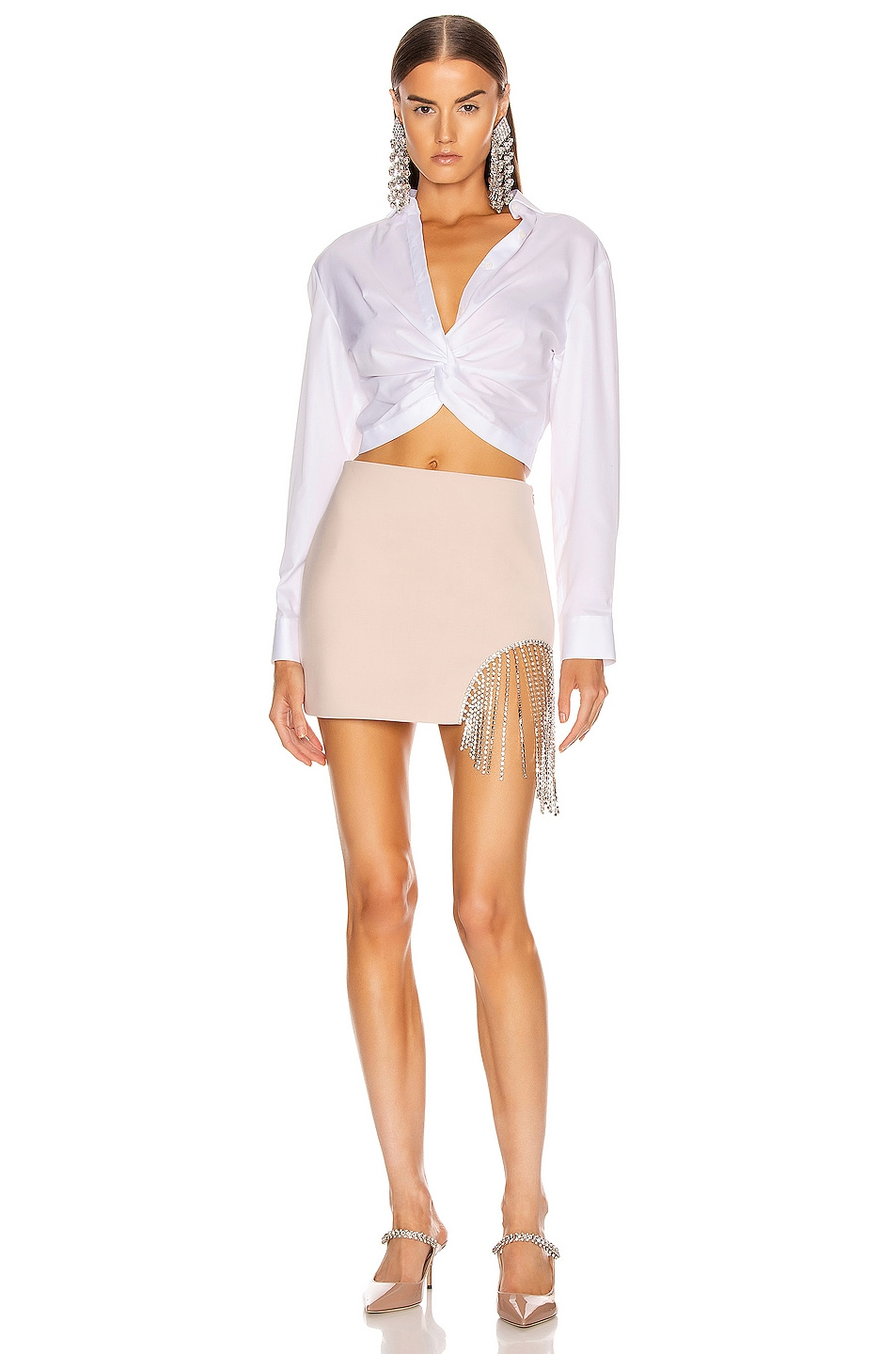 Image 5 of AREA Crystal Fringe Skirt in Nude